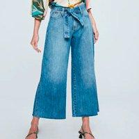 Calça Jeans Pantalona Cropped