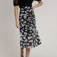saia feminina mindset midi em tule estampada floral preta