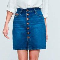 Saia Jeans com Fechamento por Botões