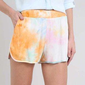 Short Feminino Estampado Tie Dye Com Bolsos Multicor