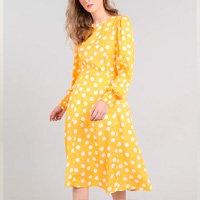 vestido feminino midi mindset estampado de poá manga longa amarelo - pp