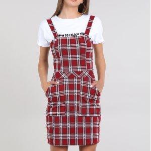 Vestido Feminino Curto Estampado Xadrez Com Bolso Alça Média Vermelho Escuro