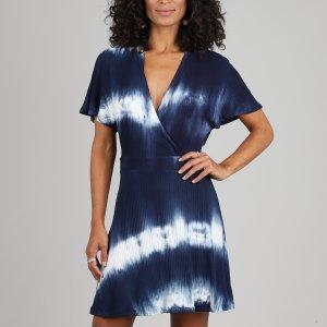 Vestido Feminino Curto Transpassado Estampado Tie Dye Manga Curta Azul Marinho