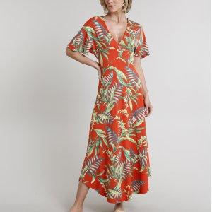 Vestido Feminino Longo Estampado De Folhagem Com Botão Manga Curta Laranja