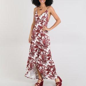 Vestido Feminino Longo Transpassado Estampado De Folhagem Alça Fina Bege Claro