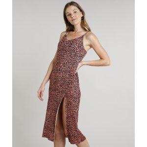 Vestido Feminino Midi Plissado Estampado Animal Print Com Fenda Alça Fina Coral
