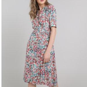 Vestido Feminino Mindset Envelope Estampado Floral Manga Curta Rosa