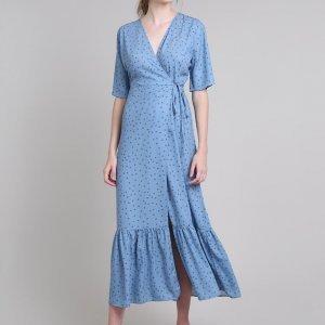 Vestido Feminino Mindset Longo Envelope Estampado De Poá Manga Curta Azul Claro