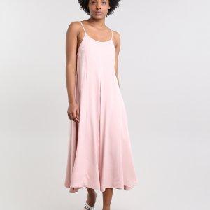 Vestido Feminino Mindset Midi Com Recortes Alça Fina Rosê