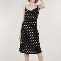 vestido feminino mindset midi estampado de poá gola degagê preto