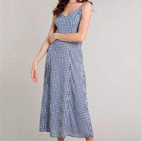 vestido feminino mindset longo estampado xadrez vichy azul