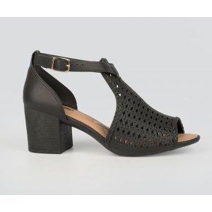 Sandália Dakota  Salto Bloco Laser Cut Preta