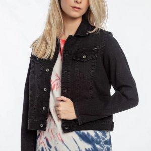 Jaqueta Crop N Block Feminino Volcom Jeans Preto - M