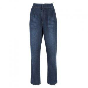 Calça Jeans Slim Com Pregas Frente