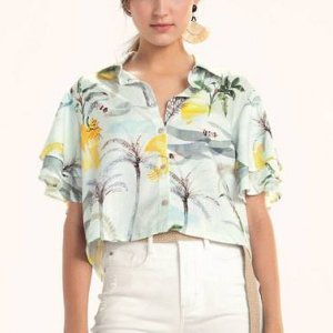 Camisa Estampada Em Tecido De Viscose E Mangas Com Sobreposição