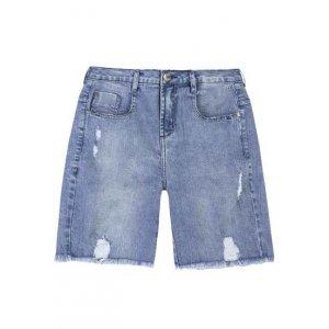 Bermuda Jeans De Algodão Com Destroyed
