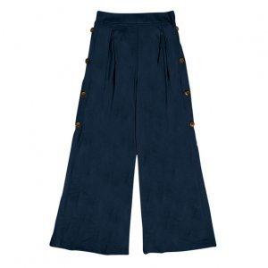 Calça Pantalona Cintura Alta Com Botões