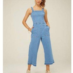 Macacão Jeans Midi Alças Com Babado