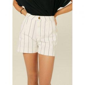 Shorts De Sarja Cintura Alta Estampado