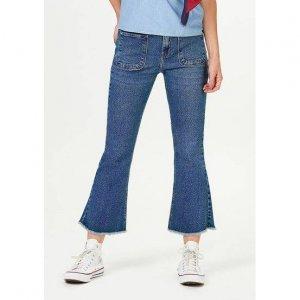 Calça Jeans Feminina Cropped Flare Cintura Alta