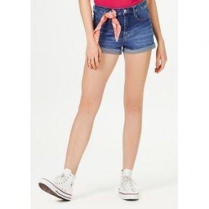 Shorts Jeans Feminino Com Fendas Acompanha Lenço