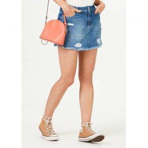 Shorts Saia Jeans Feminino Com Barra Desfiada
