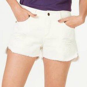 Shorts Feminino Em Jeans De Algodão Com Destroyed