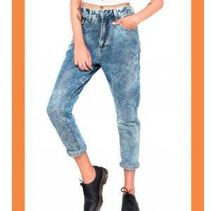 Calça Mom Jeans Acid - 42 Azul
