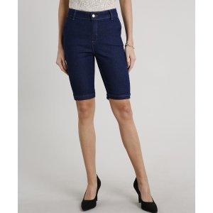Bermuda Jeans Feminina Ciclista Alfaiatada Azul Escuro