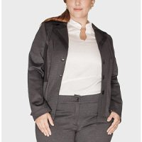 blazer malha double fit plus size - grafite-50/52