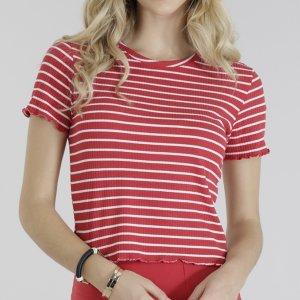 Blusa Feminina Canelada Listrada Cropped Manga Curta Decote Redondo Vermelha