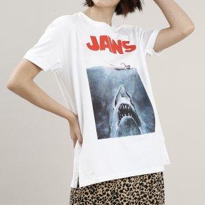 Blusa Feminina Tubarão Manga Curta Decote Redondo Branca