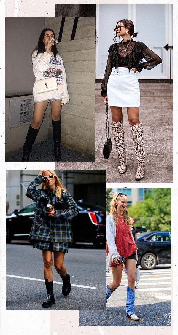 It girls - Minissaia - Bota cano longo - Primavera - Street Style