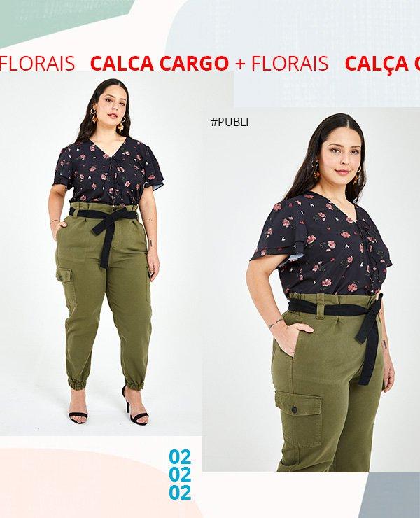 calca cargo - florais - publi - ashua - look