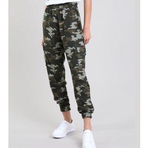 Calça Feminina Jogger Cargo Estampada Camuflada Verde Militar