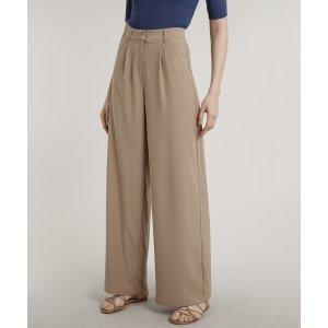 Calça Feminina Mindset Pantalona Alfaiatada Com Bolsos Bege Escuro