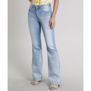 Calça Jeans Feminina Flare Com Puídos Azul Claro