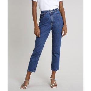 Calça Jeans Feminina Mindset Reta Azul Escuro