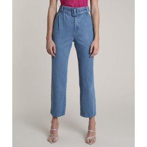 Calça Jeans Feminina Mindset Reta Com Cinto Azul Médio