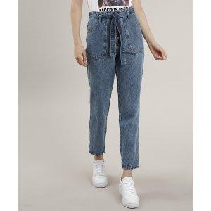 Calça Jeans Feminina Mom Clochard Com Faixa Para Amarrar Azul Médio