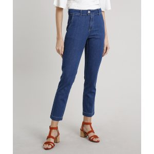 Calça Jeans Feminina Reta Alfaiatada Azul Médio