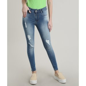 Calça Jeans Feminina Sawary Skinny Destroyed Azul Claro