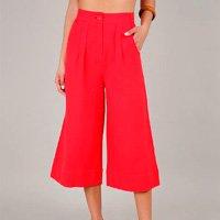 calça feminina pantacourt com bolso rosa escuro