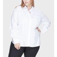 camisa acinturada algodão com elastano plus size - branco-54
