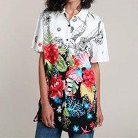 camisa feminina ampla alongada estampada floral tropical manga curta off white