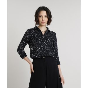 Camisa Feminina Estampada De Estrelas Manga Longa Preta