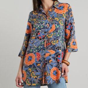 Camisa Feminina Estampada De Folhagem Manga Curta Azul Marinho