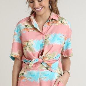 Camisa Feminina Estampada Praia Aquarelada Com Fenda Manga Curta Rosa
