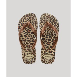 Chinelo Feminino Havaianas Top Estampado Animal Print Onça Marrom