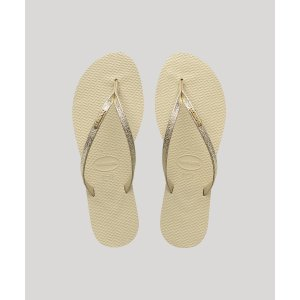 Chinelo Feminino Havaianas You Shine Metalizado Bege Claro